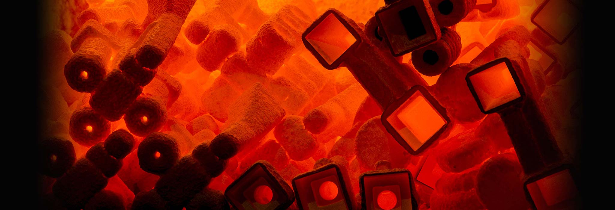 red hot glowing casting molds in kiln