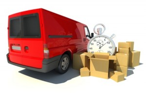 13441817 - 3d rendering of a red van, a pile of boxes and a chronometer